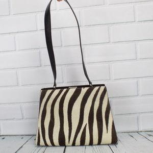 Adrienne Vittadini Zebra Fur Handbag Purse